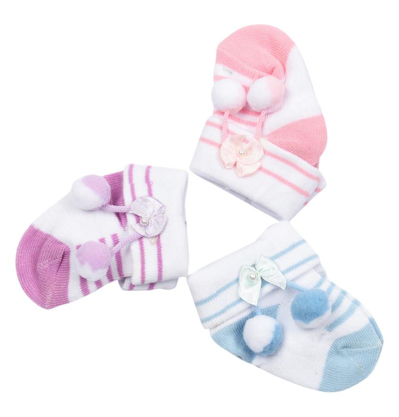 Newborn Bow and puffy Design Sock Shoes