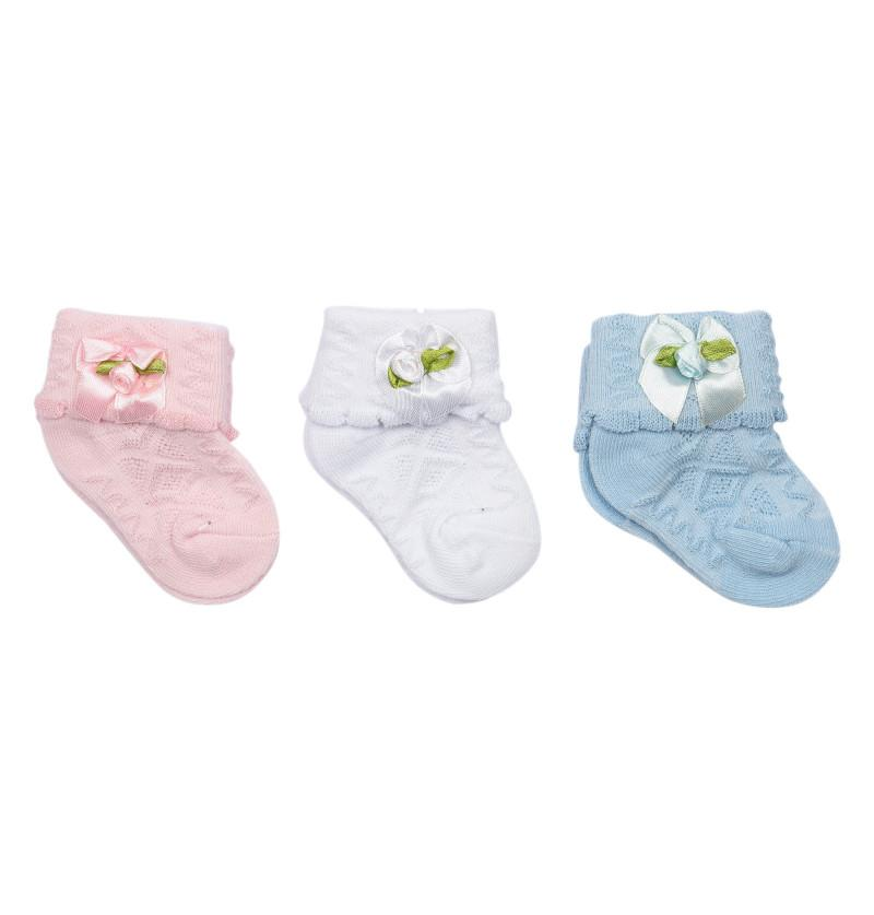 Newborn Baby Socks Bow and Rose