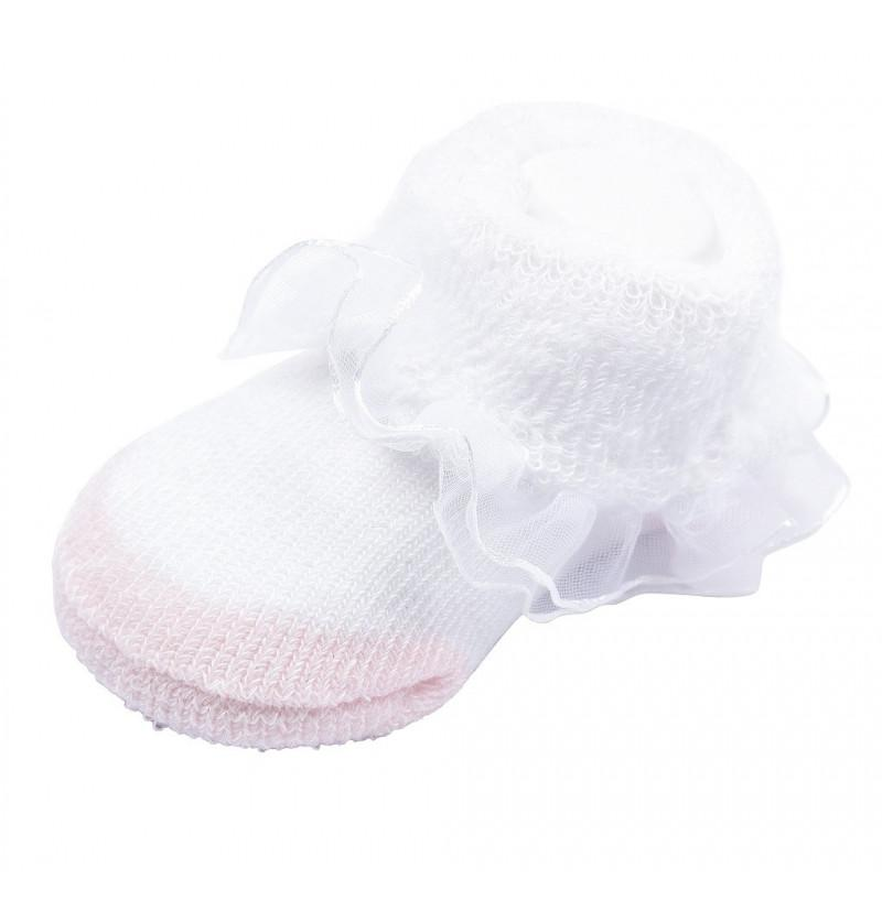 Ruffled Lace and Puffy Design Pink Socks