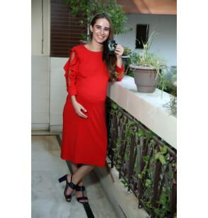 Red Office Cum Party Maternity Dress