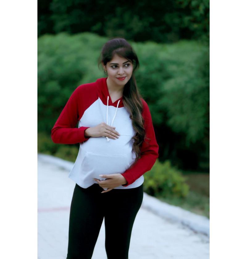 Grey and Maroon Hoodie Maternity Top