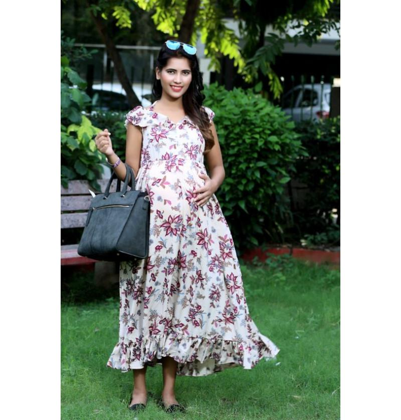 Lovely Floral Print Maternity Dress
