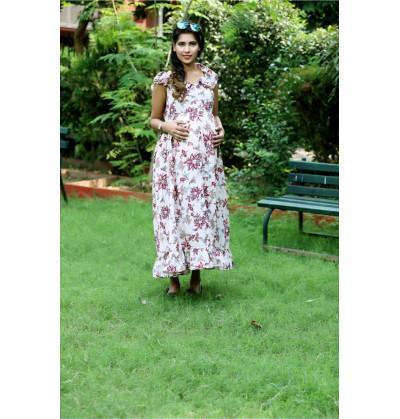 Lovely Floral Print Maternity Dress