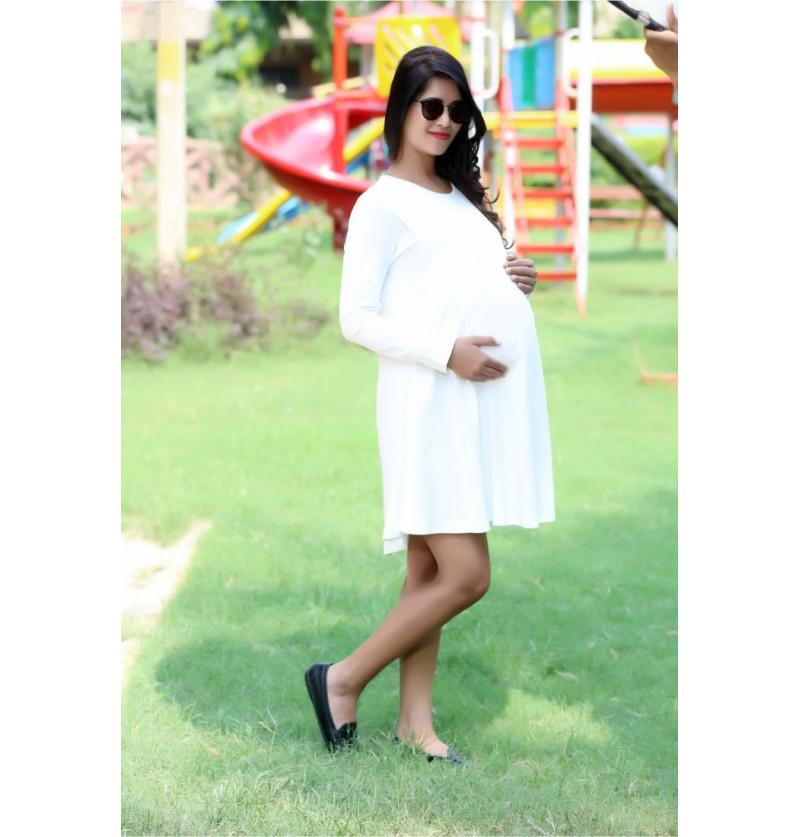 White Maternity Gorgeous Office Dress