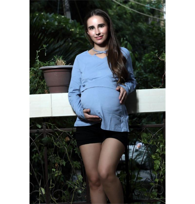 Blue Comfortable Maternity Top