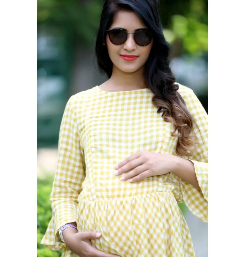 Yellow Check Comfortable Maternity Top
