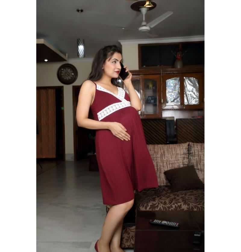 Maroon Maternity Night Wear