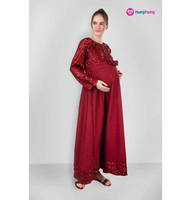 Maternity Gown - Wine Color