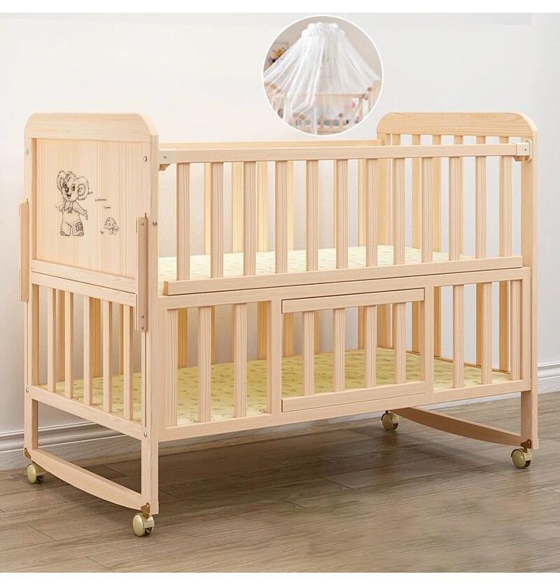 Baby Bed Crib Pinewood -...